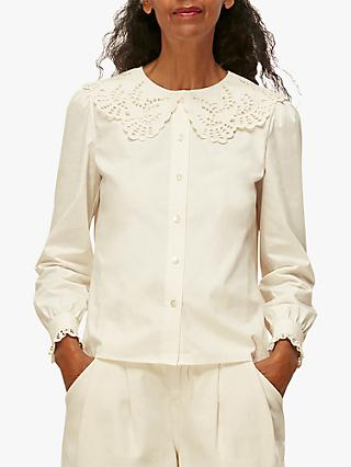 Whistles Lace Collar Cotton Blouse, Ivory