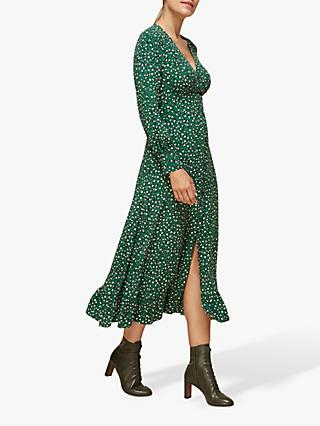 Whistles Ruffle Leopard Midi Dress, Multi