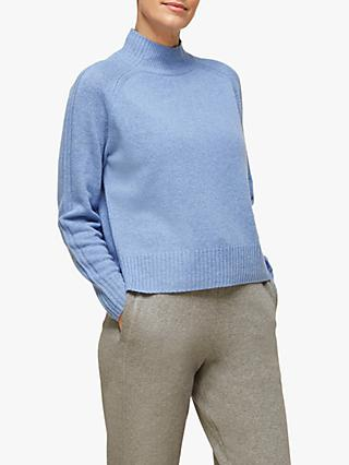 Whistles Funnel Neck Wool Jumper, Pale Blue