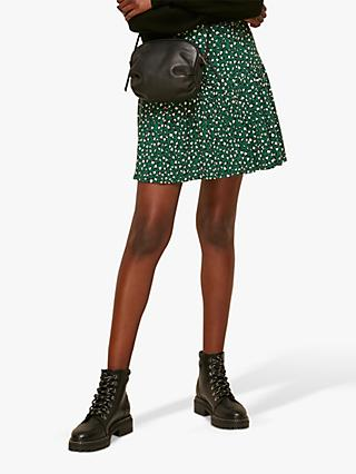 Whistles Wild Leopard Mini Skirt, Green