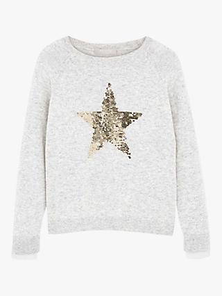Mintie by Mint Velvet Sequin Star Jumper, Grey