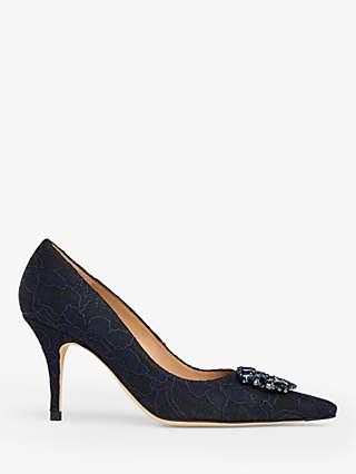L.K.Bennett Harmony Jewelled Court Shoes, Black/Navy