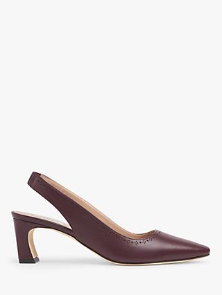 L.K.Bennett Honor Leather Slingback Court Shoes, Red Wine