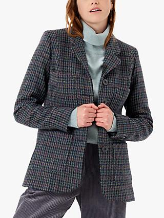 Brora Harris Tweed Check Jacket, Navy