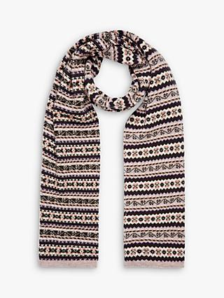 Brora Cashmere Fair Isle Abstract Scarf, Ash