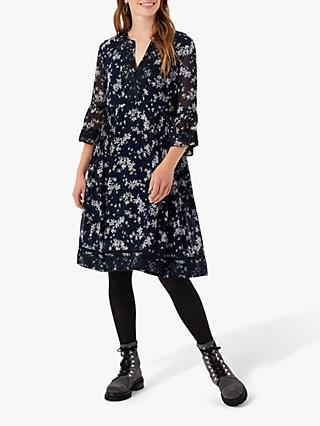 Brora Floral Embroidered Silk Knee Length Dress, Navy