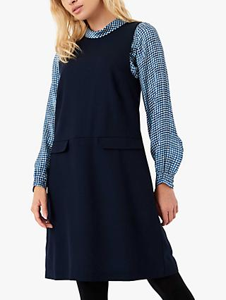 Brora Wool Crepe Pinafore Dress, Ink