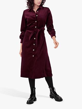 Brora Corduroy Shirt Dress, Claret
