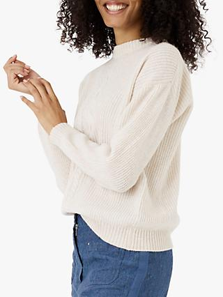 Brora Cable And Rib Cashmere Jumper, Swan