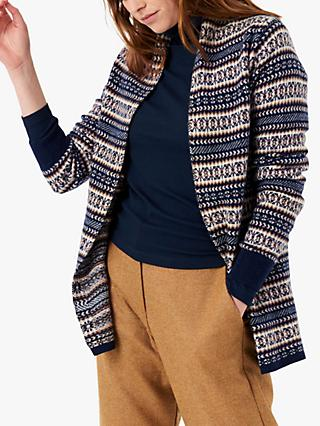 Brora Cashmere Shawl Abstract Cardigan, French Navy