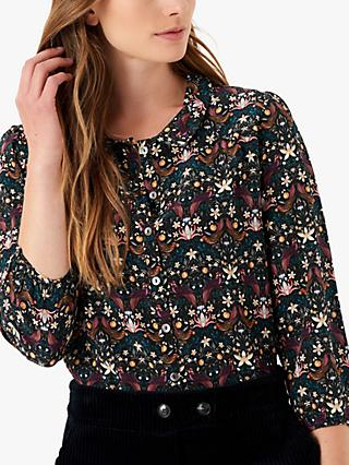Brora Liberty Silk Peter Pan Floral Blouse, Forbidden Fruit