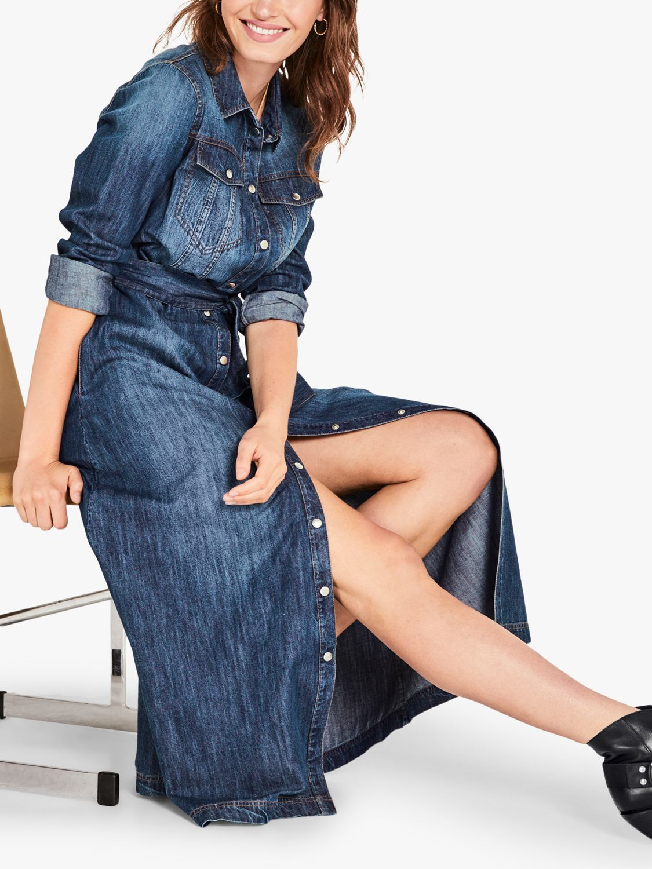hush Emily Denim Maxi Shirt Dress, Blue at John Lewis & Partners