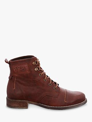 Josef Seibel Sienna 17 Leather Block Heel Lace Up Ankle Boots, Camel Brown