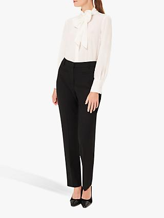 Hobbs Beatrice Tie Neck Silk Blouse, Ivory
