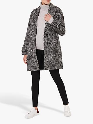 Hobbs Carmen Herringbone Check Coat, Black/Ivory
