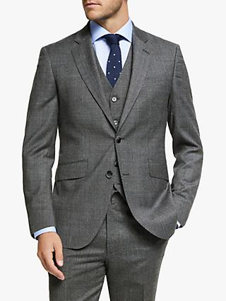 Hackett London Chelsea Prince of Wales Check Tailored Suit Jacket, Grey