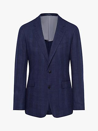 Hackett London Hopsack Check Blazer, Navy