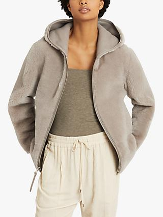 Reiss Amelia Reversible Shearling Hooded Coat, Pale Grey