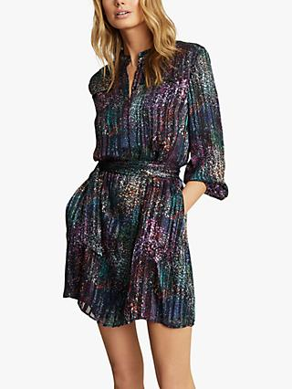 Reiss Isla Metallic High Neck Mini Dress, Black
