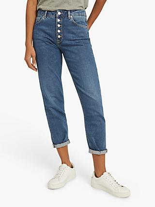 Reiss Bailey Mid Rise Slim Cut Cropped Jeans, Mid Blue
