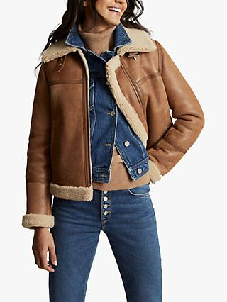 Reiss Margot Leather Aviator Jacket, Tan