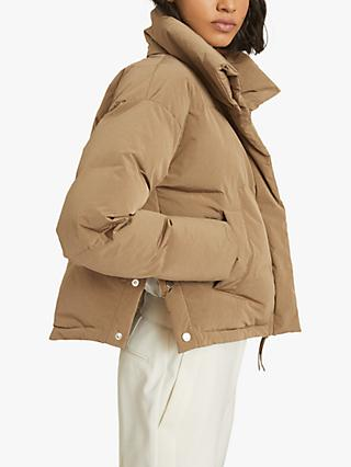 Reiss Corey Funnel Neck Puffer Jacket, Camel