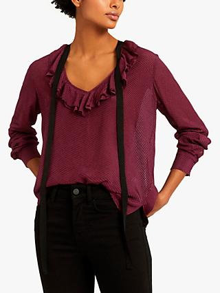 Reiss Mackenzie Textured Bow Detail Blouse, Berry