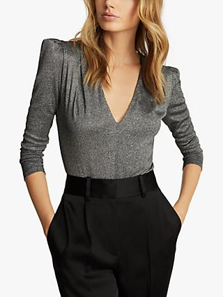 Reiss Rosie Metallic Long Sleeve Bodysuit, Silver