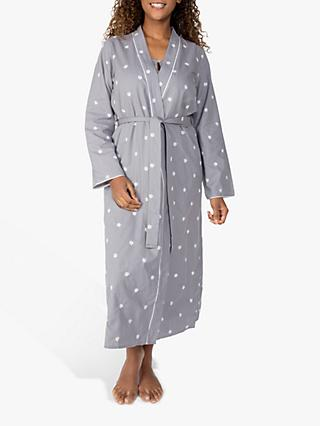 Nora Rose by Cyberjammies Spot Embroidered Dressing Gown, Grey