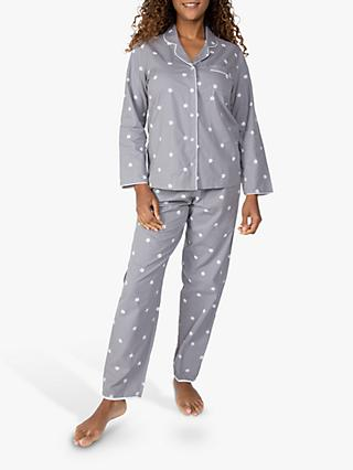 Nora Rose by Cyberjammies Embroidered Spot Pyjama Set, Grey