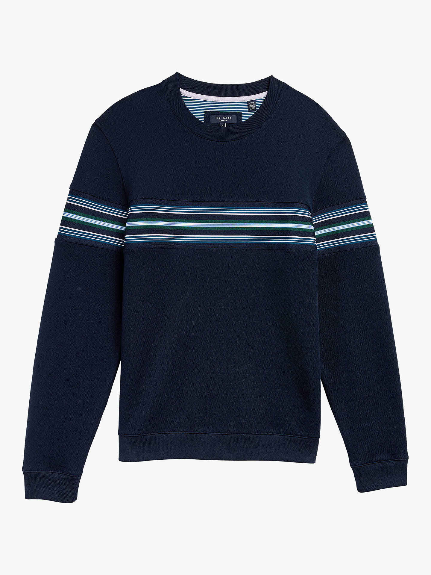 Buy Ted Baker Sumo Cotton Blend Stripe Sweatshirt, Navy, XS Online at johnlewis.com