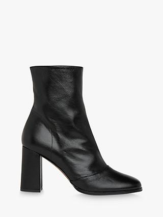 Whistles Dina Leather Heeled Boots, Black
