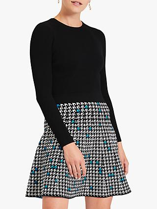 Damsel in a Dress Elif Houndstooth Skirt Long Sleeved Mini Dress, Multi