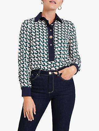 Damsel in a Dress Emory Abstract Basket Weave Print Shirt, Green