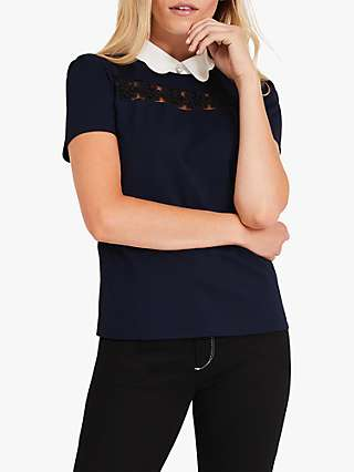 Damsel in a Dress Gaselle Floral Lace Border Top, Navy