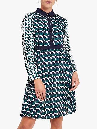 Damsel in a Dress Emory Abstract Basket Weave Print Shirt Dress, Green