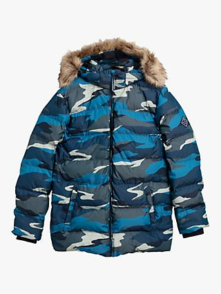 GANT Boys' Alta Faux Fur Quilted Jacket, Multi
