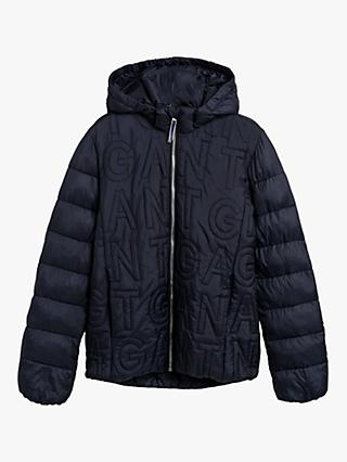 GANT Boys' Logo Quilted Jacket, Navy