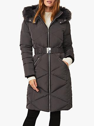 Phase Eight Remy Longline Quilted Coat, Grey