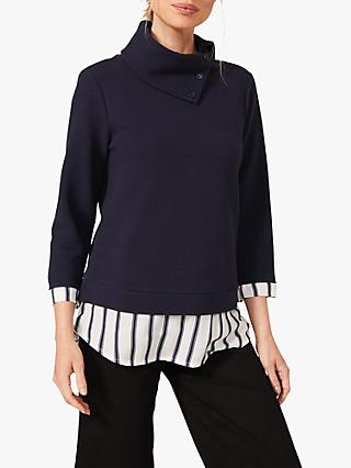 Phase Eight Mica Stripe Top, Navy