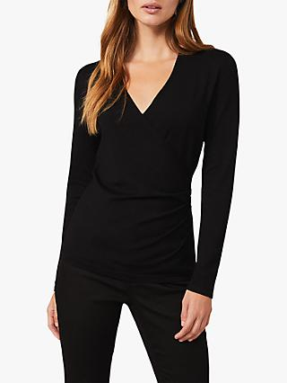 Phase Eight Wilma V-Neck Top, Black
