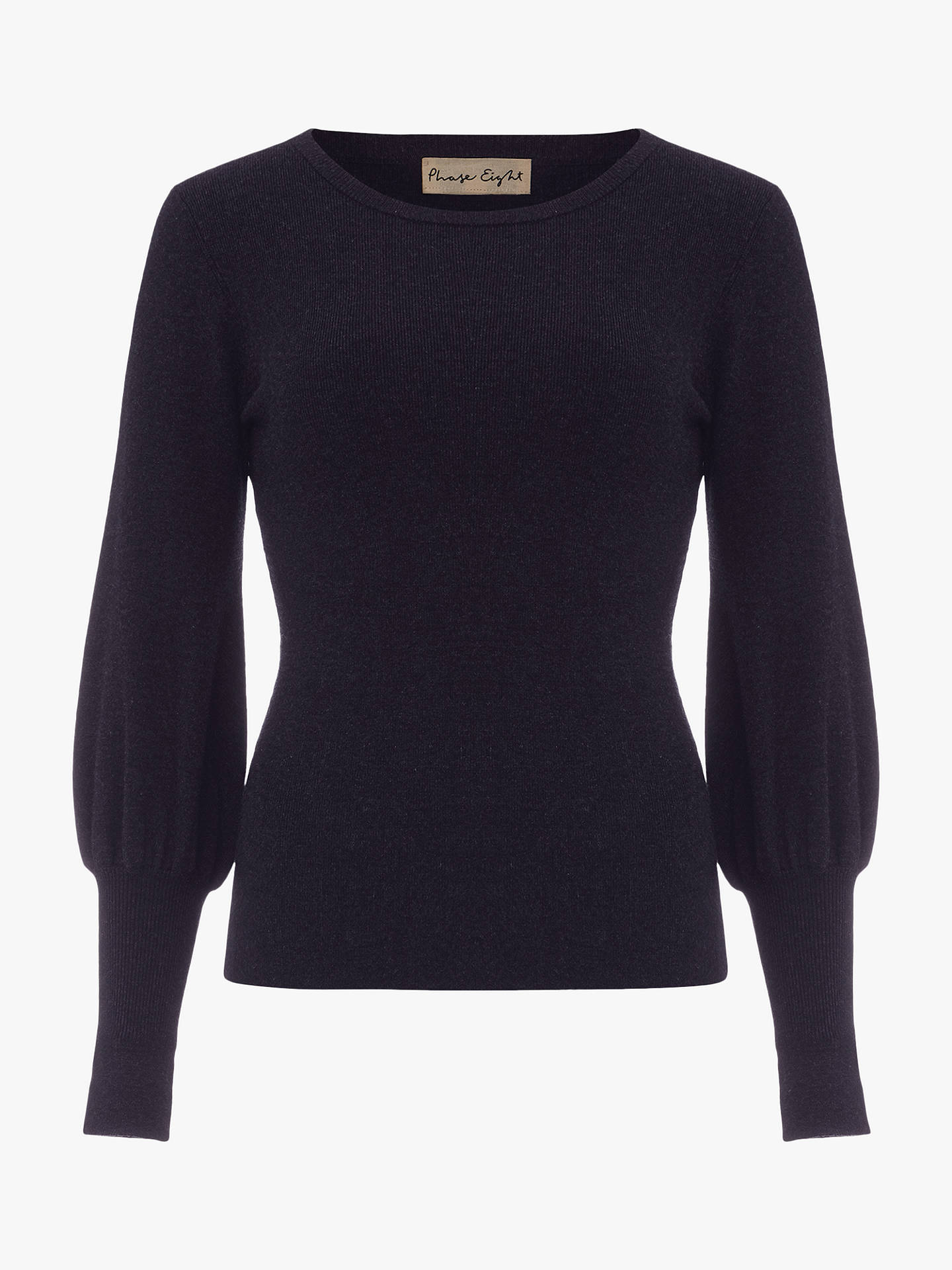 Buy Phase Eight Gwyneth Balloon Sleeve Jumper Top, Navy, 10 Online at johnlewis.com