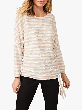 Phase Eight Shaughna Long Sleeved Ripple Stripe Top, Stone