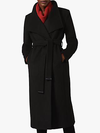 Phase Eight Thea Belted Wool Blend Coat, Black
