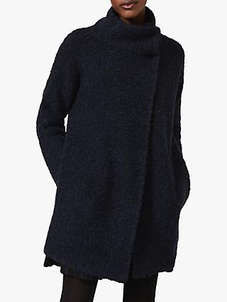 Phase Eight Tasha Wrap Over Teddy Coat, Navy