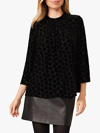 Phase Eight Daisy Floral Burnout Pattern Top, Black