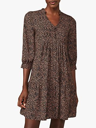 Phase Eight Penele Ditsy Spot Print Swing Dress, Camel/Black