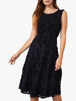 Phase Eight Penelope Tapework Lace Flared Dress, Navy