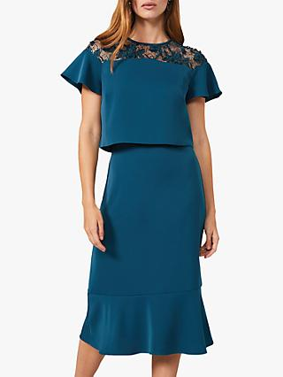 Phase Eight Haidee Double Layer Lace Panel Midi Dress, Teal