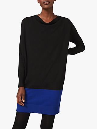 Phase Eight Londyn Colour Block Mini Dress, Black/Cobalt